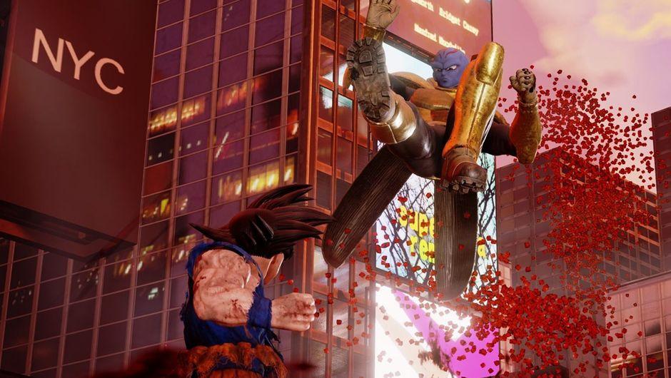 Kane landing a kick on Goku in Jump Force.