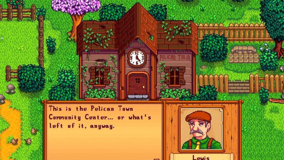 Screenshot of Stardew Valley community centre intro sequence