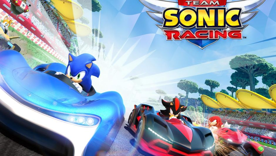 Sonic Team Racing poster showing several Sega characters in cars