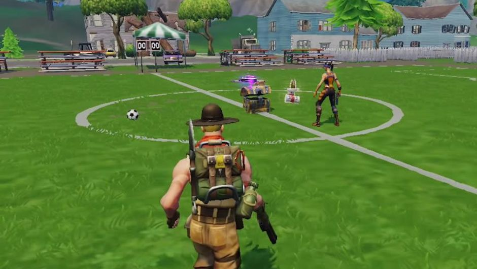A ranger-looking character from Fortnite iOs running on a soccer field