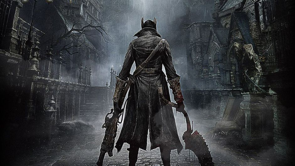 Bloodborne promotional image showing the game's protagonist in a black leather coat in the dark city streets.