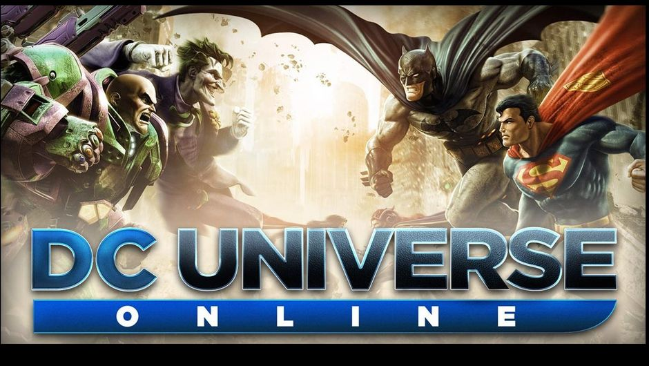 DC Universe Online promotional image featuring Lex Luthor and Joker vs Batman and Superman