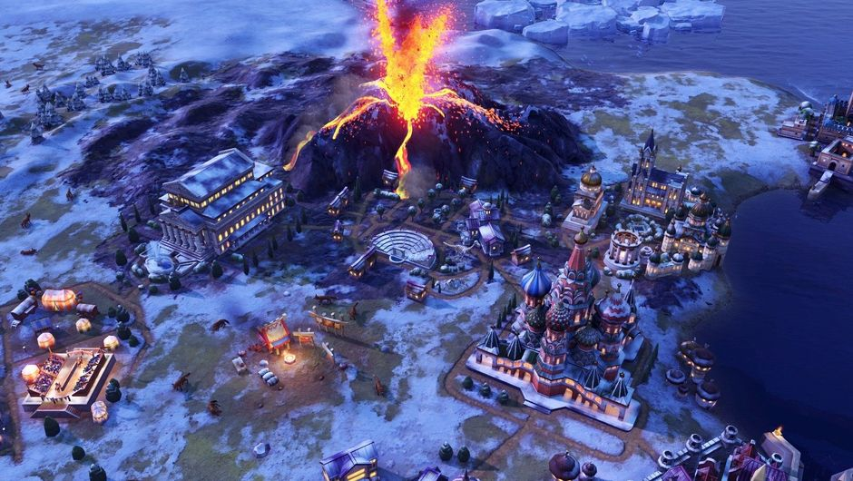A volcano erupts in Civilization VI: Gathering Storm
