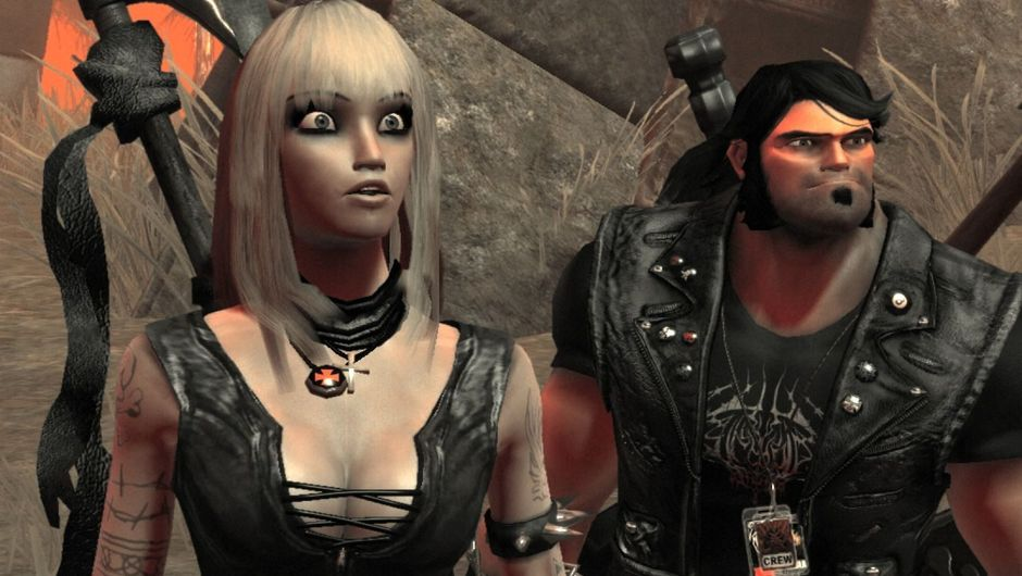 Protagonists of Brutal Legend staring in disbelief