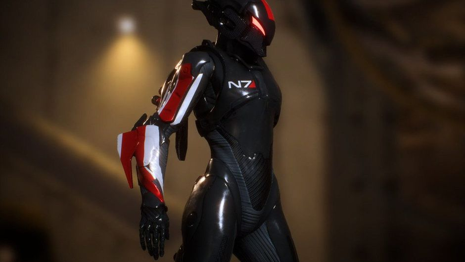 Picture of an Interceptor in Anthem wearing the N7 colours