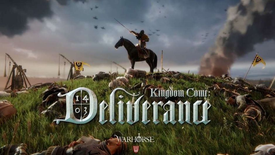 Kingdom Come: Deliverance logo with a men on his horse in the background
