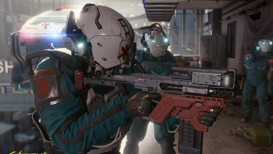 White masked cybernetically augmented gunners in Cyberpunk 2077