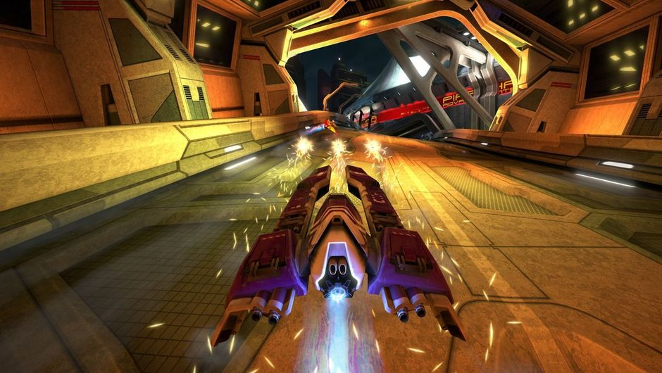 A hovercraft driving on a futuristic racetrack in Wipeout Omega Collection