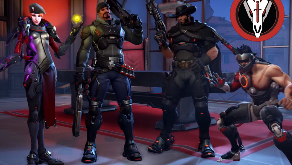 Moira, Reaper, McCree and Genji are standing in their Blackwatch skins.