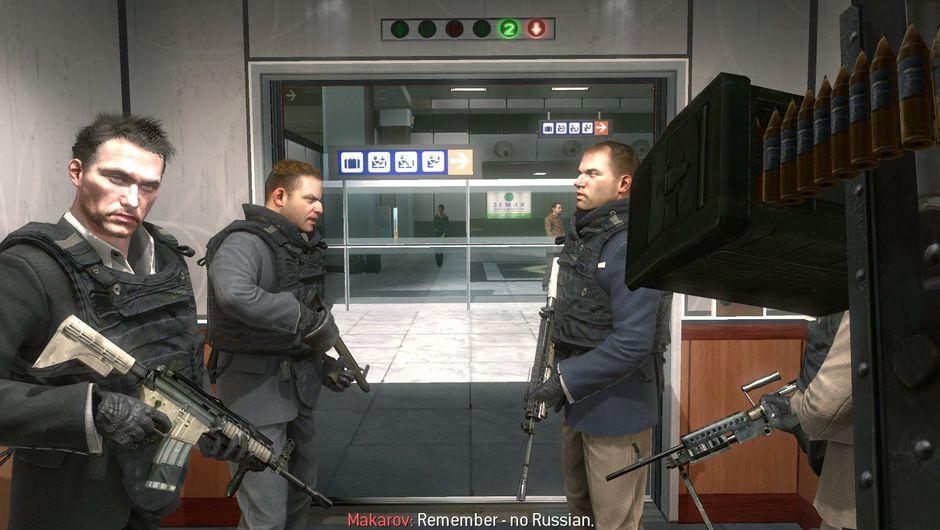 call of duty modern warfare screenshot showing terrorists on airport