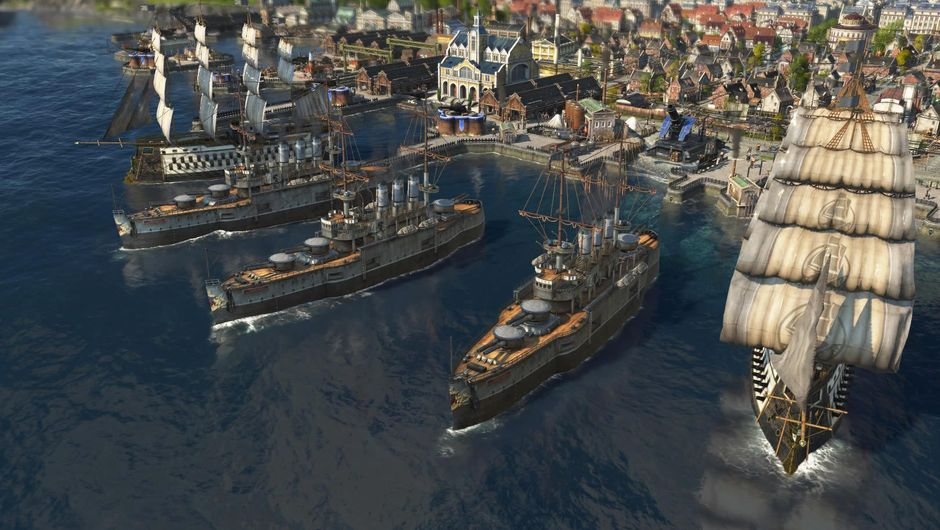 Several ships in the port, from Anno 1800