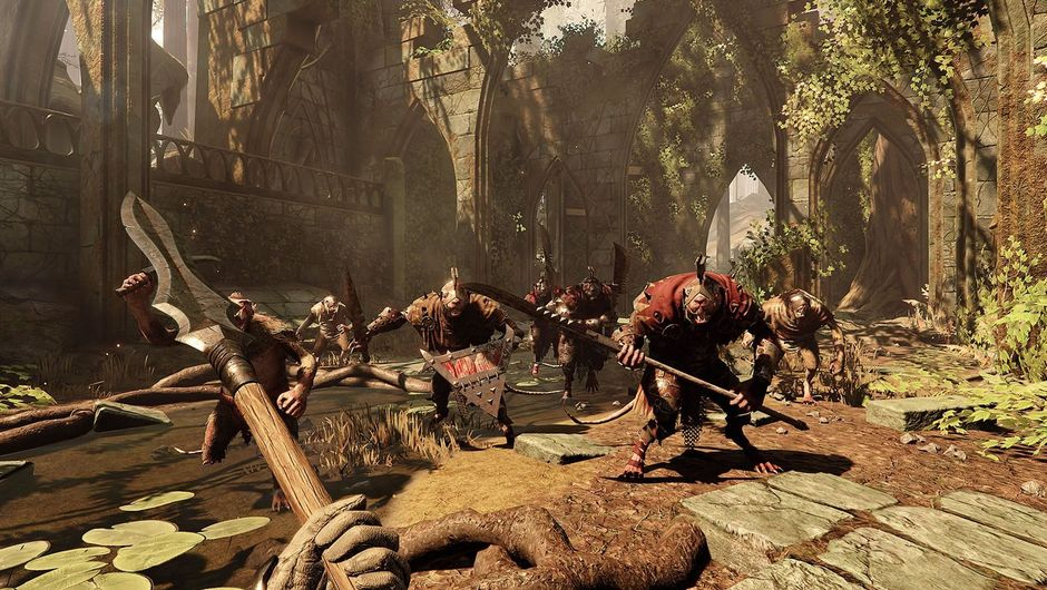 A Warhammer: Vermintide 2 character armed with a spear, about to engage a group of enemies