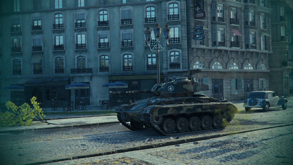 An American military vehicle on the streets of Paris in a game