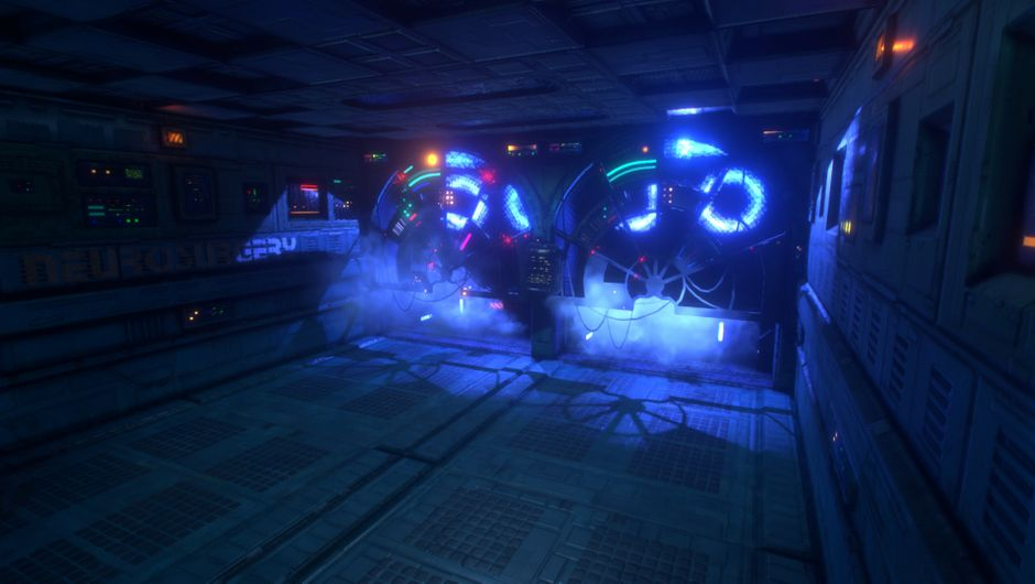 A shot of the environment in System Shock.