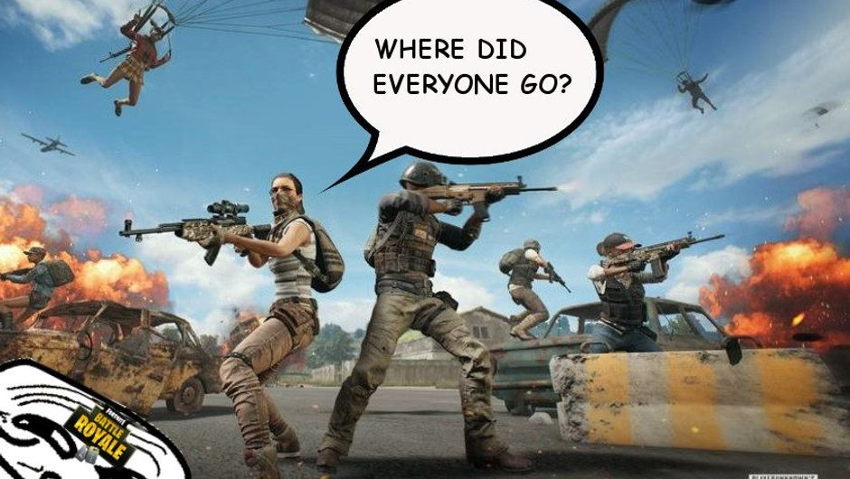 Spoof image of a PUBG promotional poster mocking the game shedding players