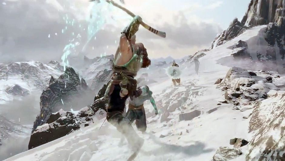 Kratos leaping on an enemy on top of a snowy mountain.