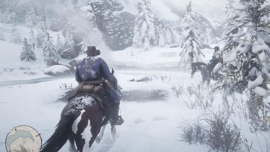 Arthur Morgan riding his horse on a snowy field, heading towards a mountain.