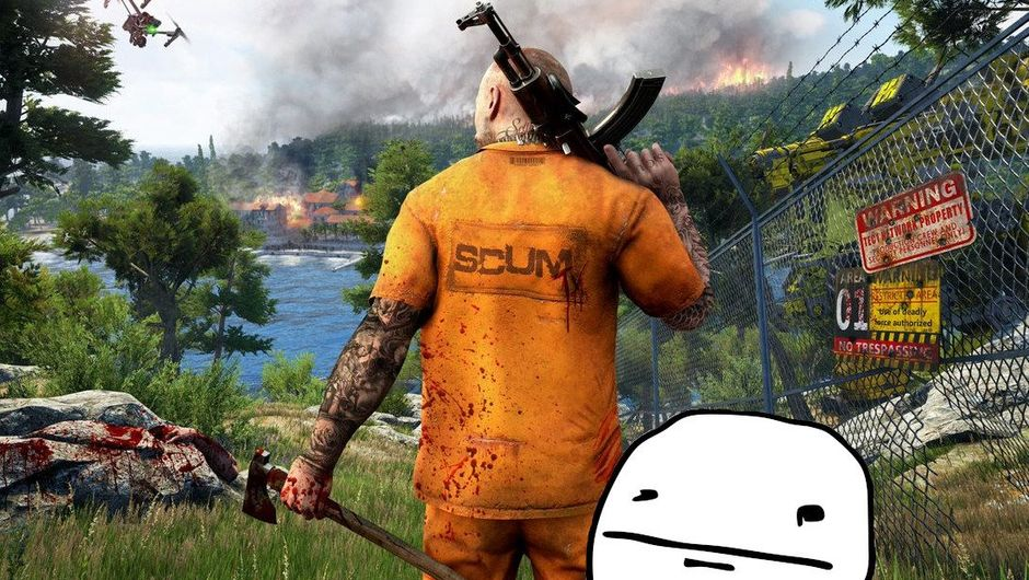 Promotional image for SCUM, with a pokerface meme next to it