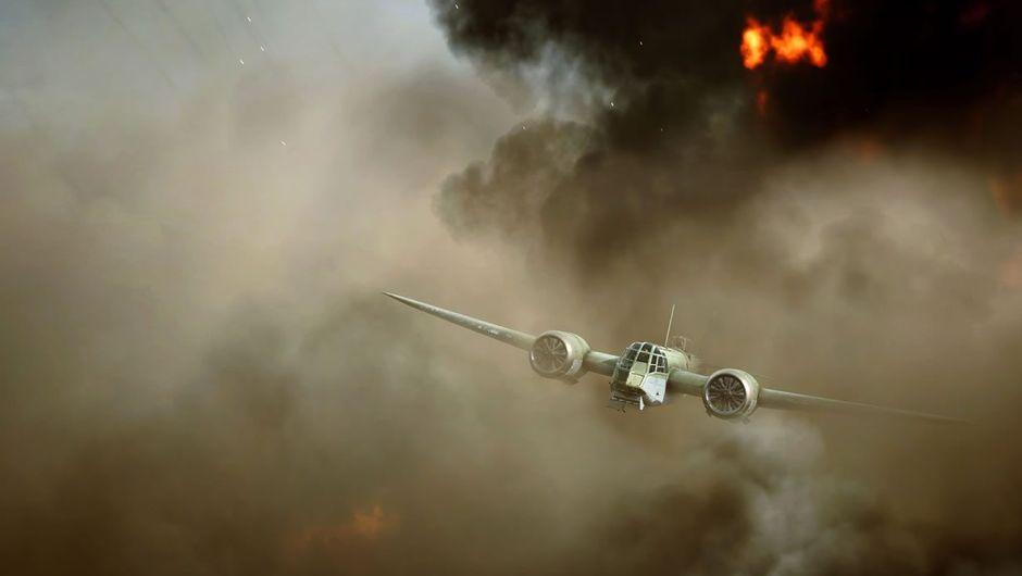 A plane flying through smoke in Battlefield V