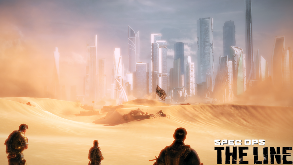 Three Delta Force soldiers are approaching sand covered Dubai.
