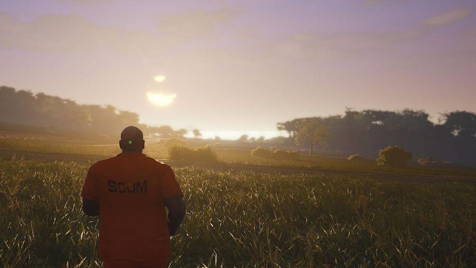 A man clad in orange prisoner clothing running in SCUM