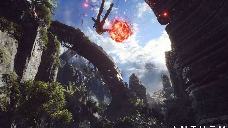 Picture of a javelin flying around in Anthem
