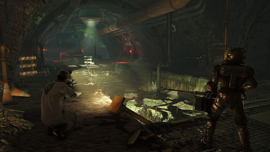 fallout 76 screenshot showing two characters in underground sewers