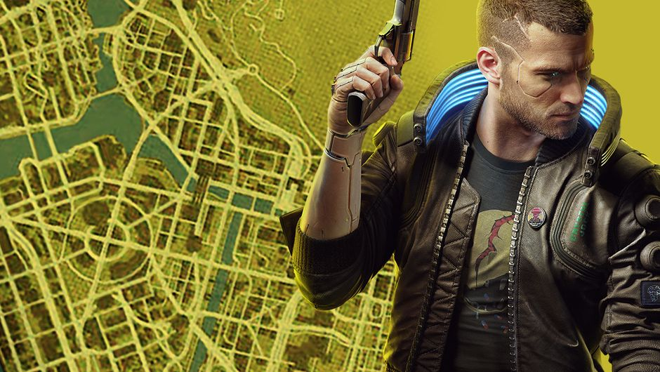 artwork showing cyberpunk 2077 map size