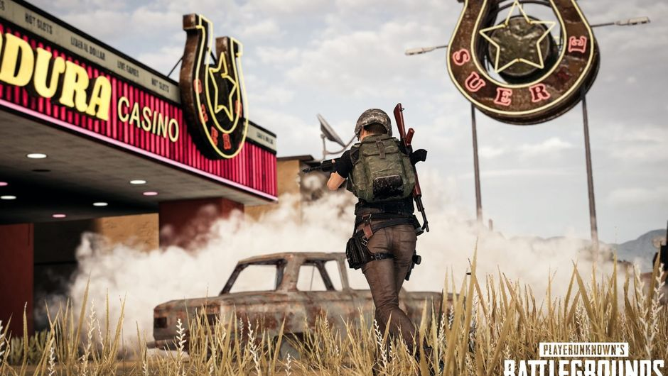 Some player in PUBG is running around shooting next to a casino