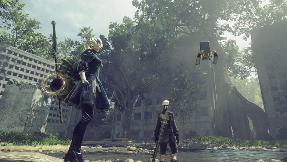 picture showing two characters from Nier: Automata