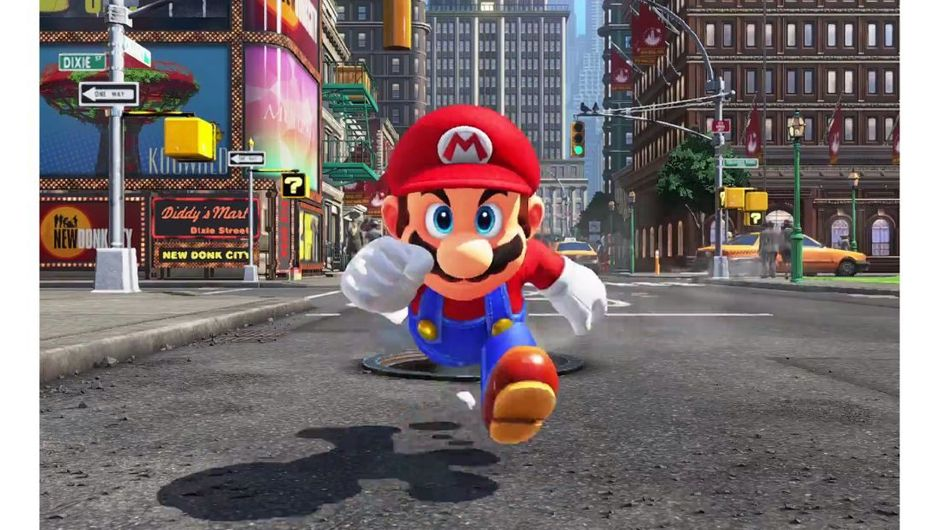 Mario is running towards camera on a street in Super Mario Odyssey