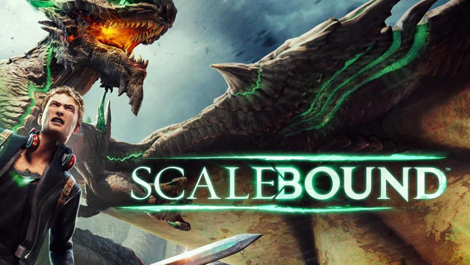 Scalebound poster showing a dragon and protagonist Drew