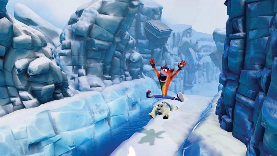 Animated bandicoot sliding on a bear down an icy slope