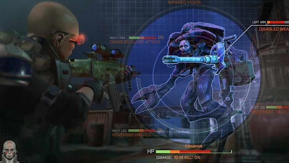 Screenshot from Phoenix Point of a soldier aiming at a monster