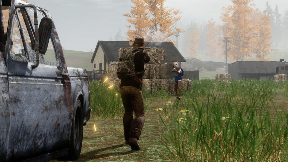 Two men approaching one another in H1Z1 battle royale