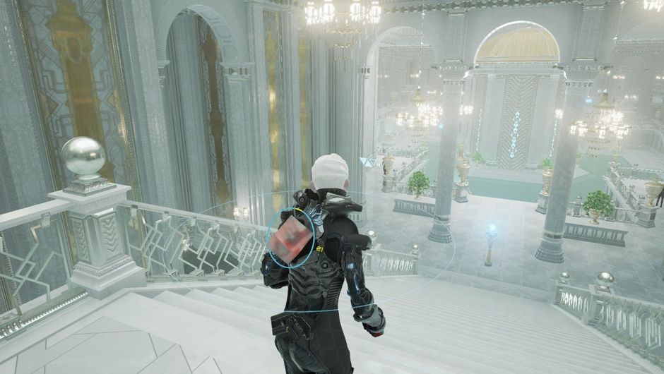 echo screenshot showing a female character in black suit inside of a white building