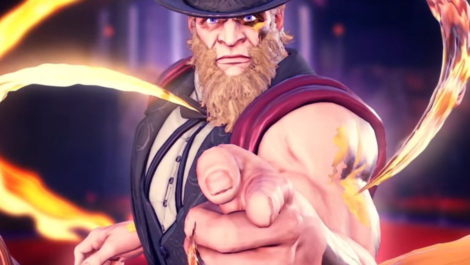 Picture of G in Street Fighter V striking a pose like Uncle Sam