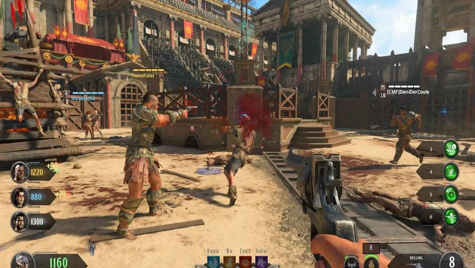Player blowing a zombie's head off in Zombies mode in Call of Duty: Black Ops 4.