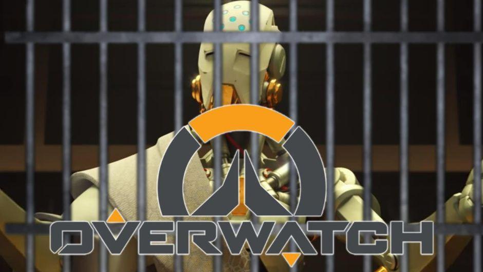 Zenyata from Overwatch photoshopped behind prison bars