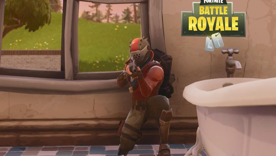 A man crouching in a toilet in Epic's game Fortnite Battle Royale