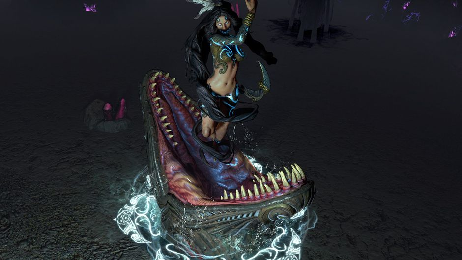 path of exile screenshot showing a female character being swallowed by a croc