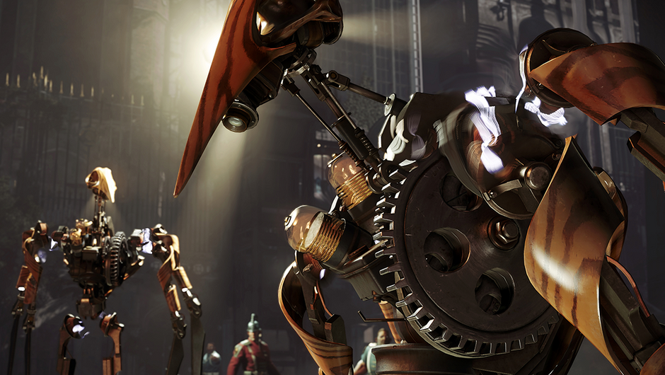 Screenshot of some clockwork automatons in Dishonored 2