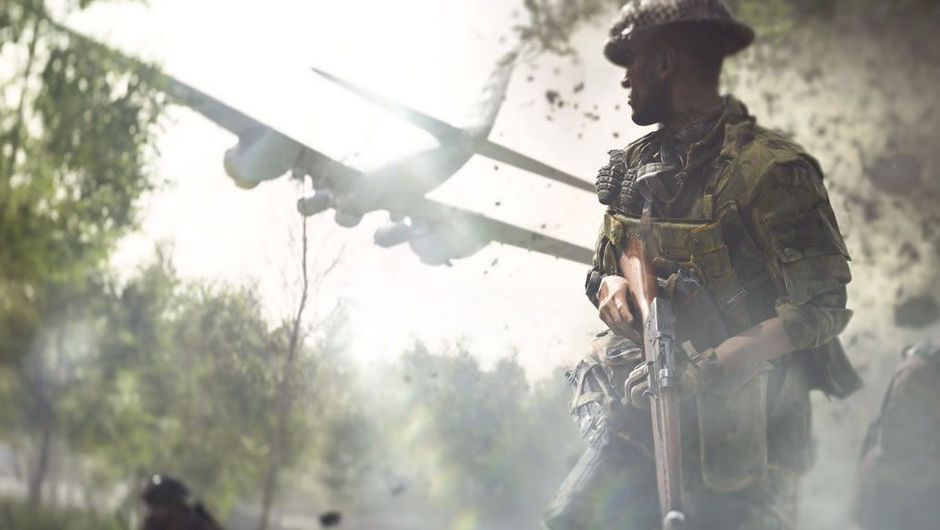 A soldier looking at a plane in Battlefield V