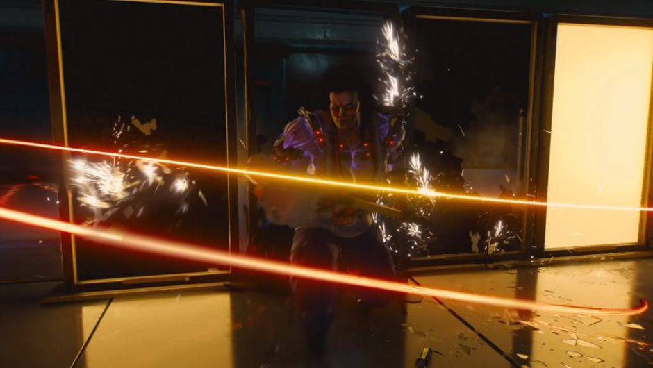 cyberpunk 2077 screenshot showing a glowing nanowire attacking a female character