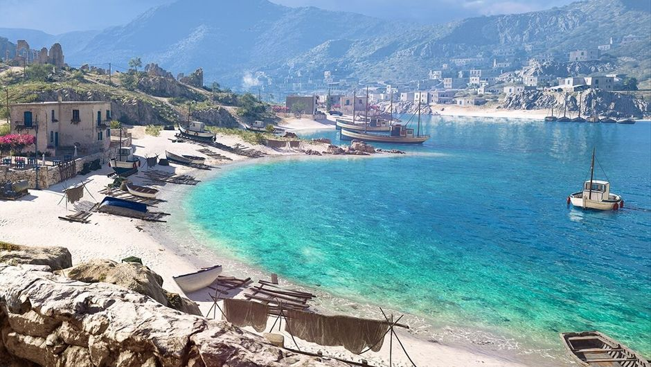 battlefield v screenshot showing a beach and sky blue water