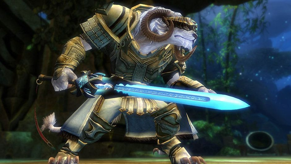 Picture of a Charr holding the Scion's Claw sword in Guild Wars 2