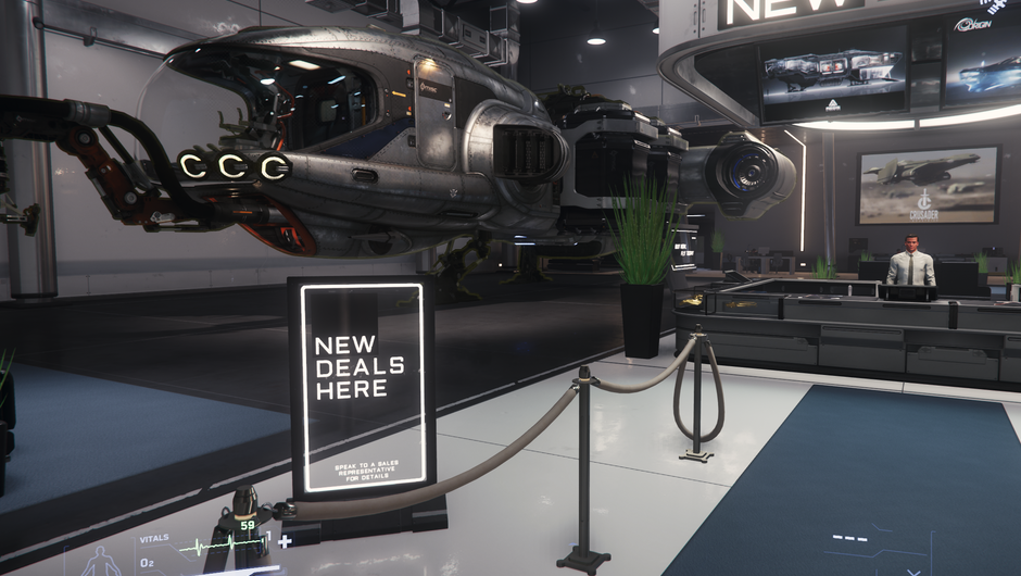 Star Citizen - New Deal spaceship showroom in Lorville