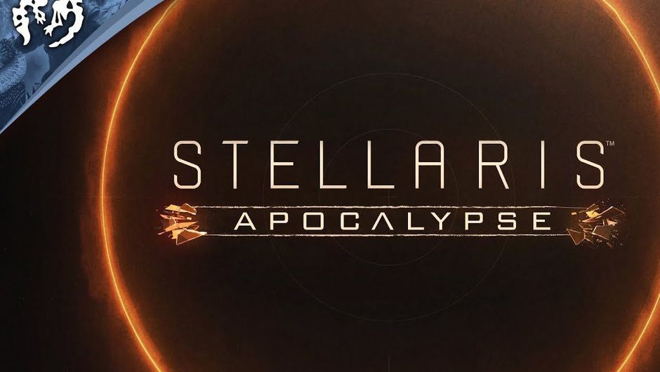 Promotional poster for Stellaris: Apocalypse DLC showing dark space with orange outlines of a planet.