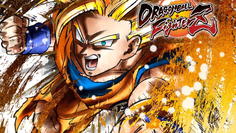 Dragon Ball FighterZ poster in yellow and orange featuring Super Saiyan Goku.