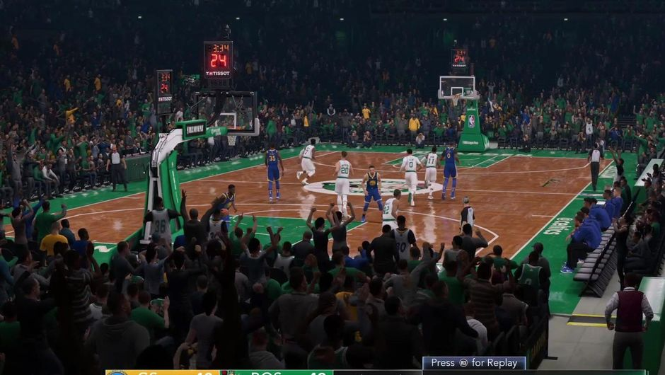 Crowd view of the TD Garden in NBA Live 19.